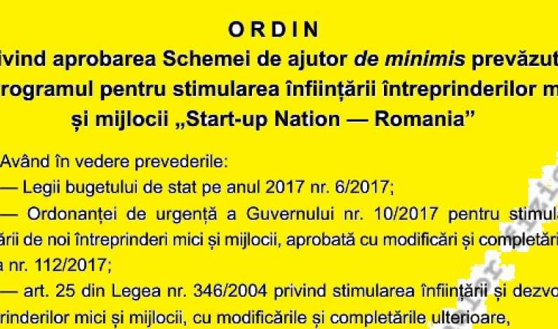 Start-up Nation 2017: S-a publicat in Monitorul Oficial schema de ajutor de minimis